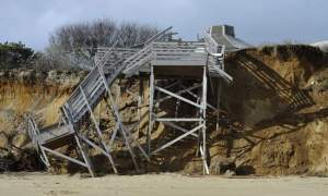Damage to the stairs at Nauset Beach - no, this isn't my picture (click the image to see a gallery of pictures)