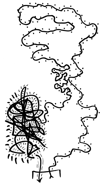 Abstract drawing of a meandering line, ending in a scribble of panic