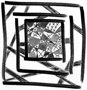 Abstract drawing of nested squares and criss-crossing lines