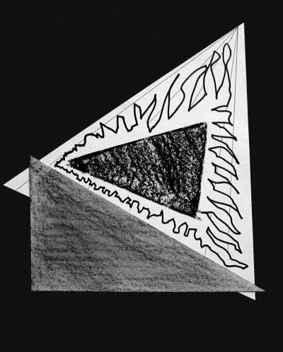 black and white abstract drawing - triangle with squiggly lines and another triangle in the center