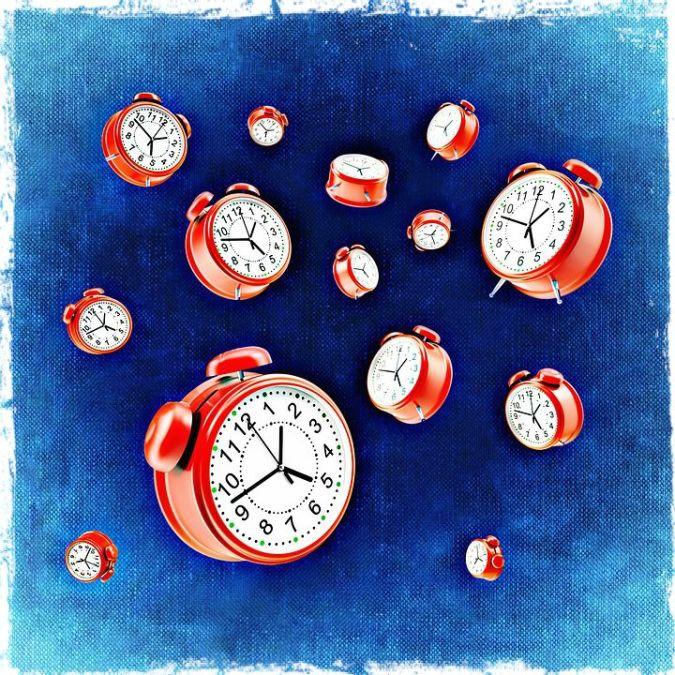 clocks flying through space