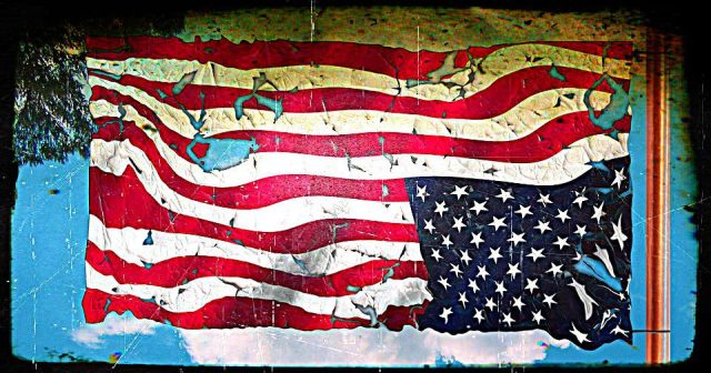 upside-down tattered American flag